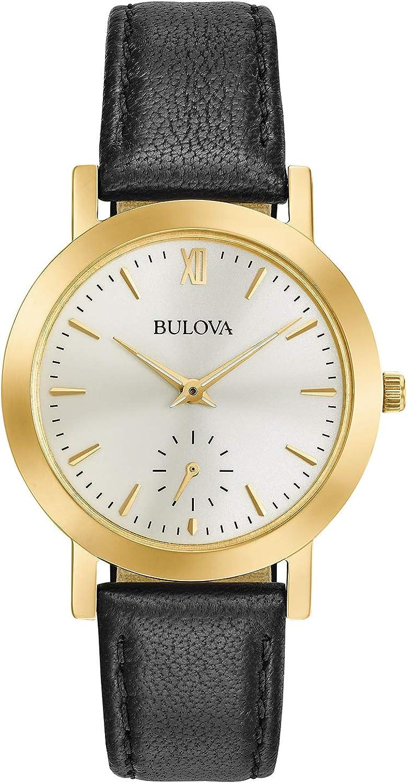 Bulova Women s Stainless Steel Analog-Quartz Watch with Leather Strap, Black, 0.5 Model 97L159