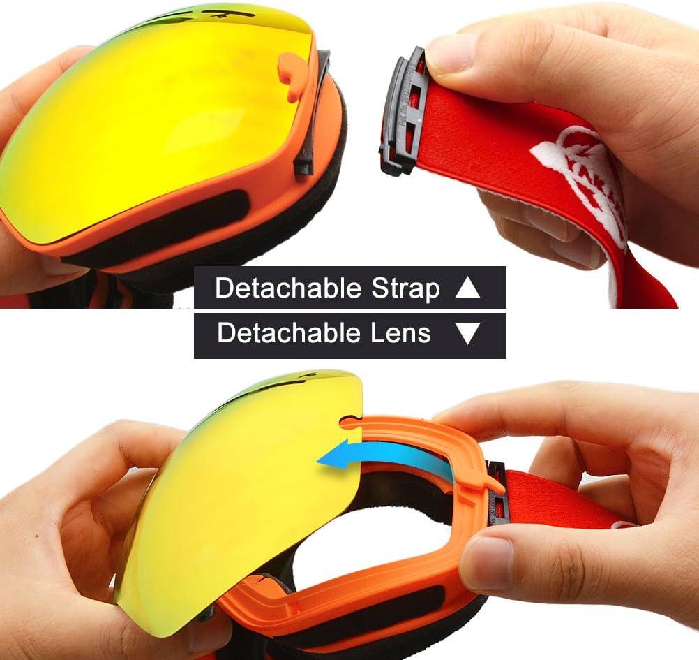 YAKAON Y1 Frameless Snowboard Goggles with Anti-fog 100/% UV Protection Sphercial REVO Mirror Lens Ski Goggles for Men /& Women
