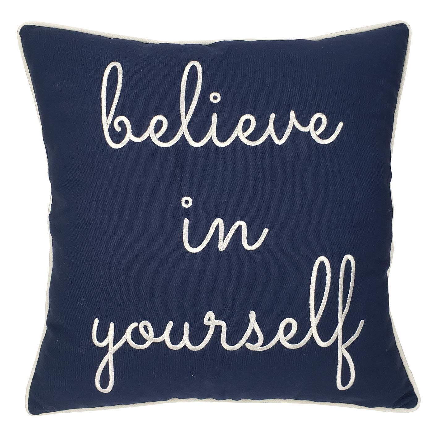 Trivenee Tex Pillowcase Embroidered Funny Inspirational Quote Throw Pillow Cover Decorative Pillowcase for Couch Sofa Gift for Graduation Teen Boys Girls Christmas (Believe(Navy), 18'X18)