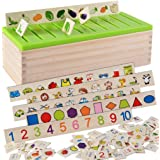 80pcs Kid Educational Wooden Matching & Sorting Toy Match Game 8 Serie for Number Shape Color Fruit Car Animal Cognition…