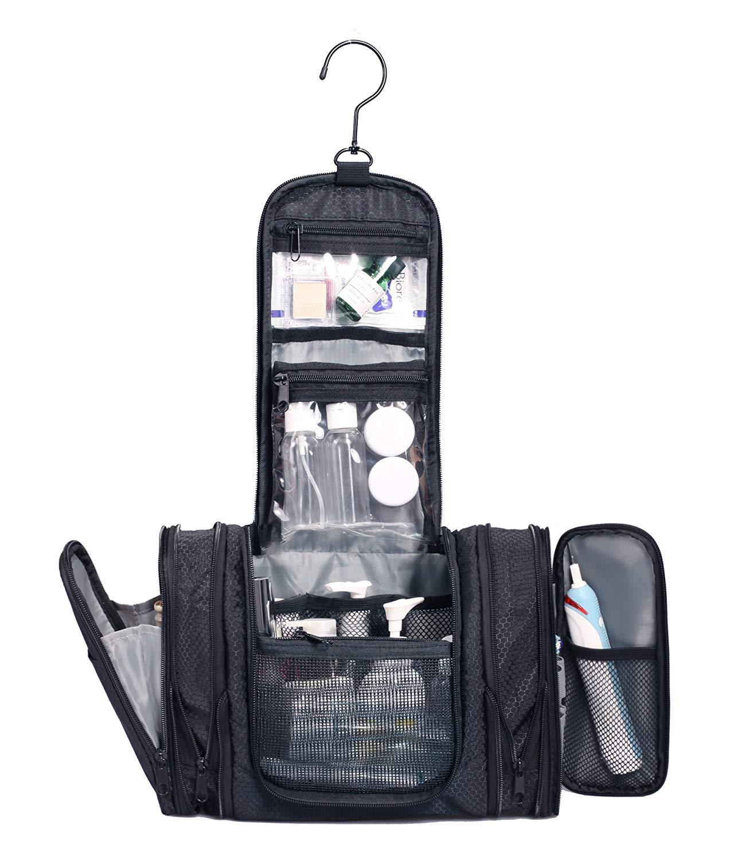 WANDF Expandable Toiletry Bag Hanging Dopp Kit TSA Approved Bottles Water Resistant (Black 1006) by WANDF