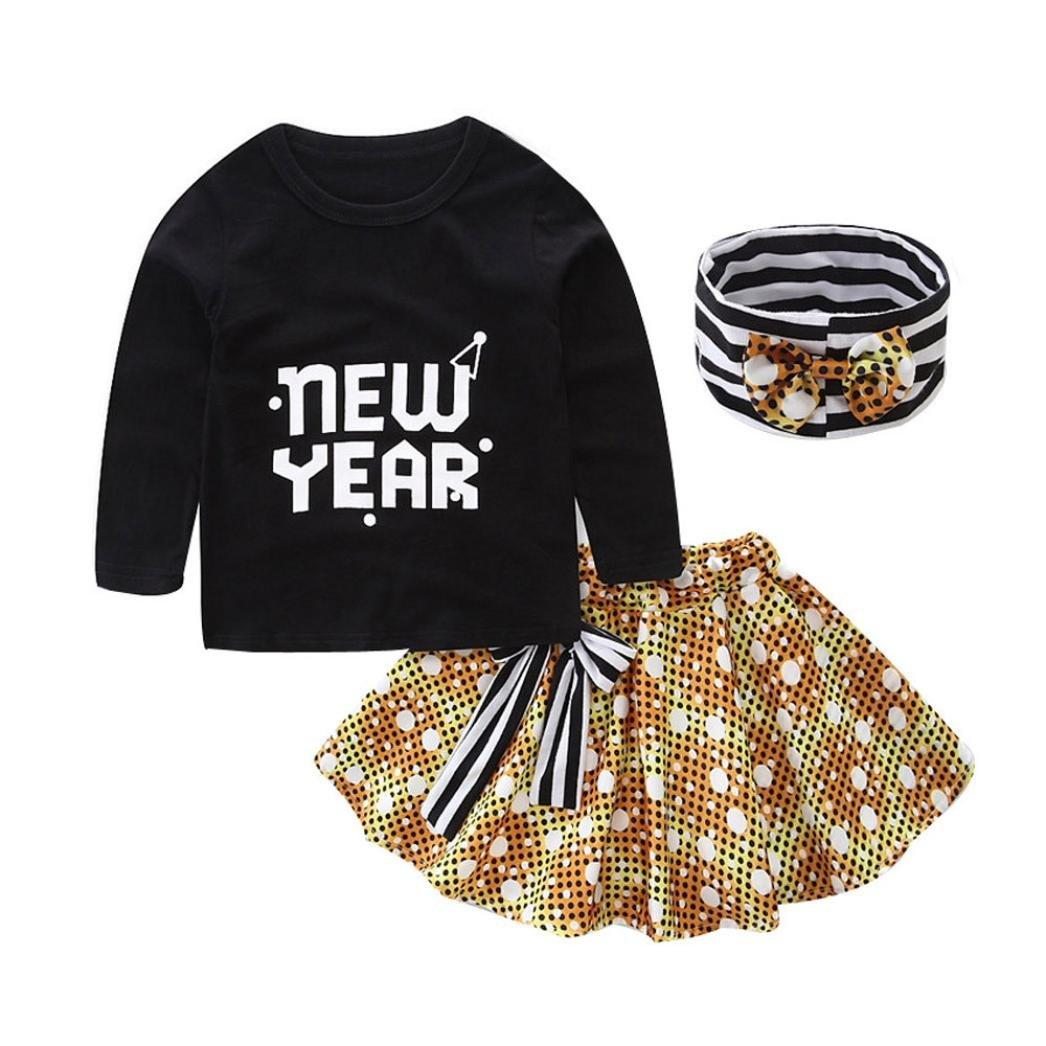 ropa de bebé niña invierno , RETUROM Diseño de moda nuevo 1Set bebe niños niñas letra imprimir camiseta Tops + falda + diadema trajes ropa
