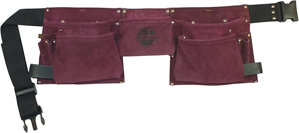 Graintex SS1123 10 Pocket Nail /& Tool Pouch Purple Color Suede Leather for