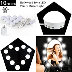 2018 Upgraded Hollywood Style LED Vanity Makeup Mirror Lights Kit with 10 Dimmable Bulbs,Ailuki USB Powered Lighting Fixture Strip for Makeup Vanity Table Set in Dressing Room (Mirror Not Include)