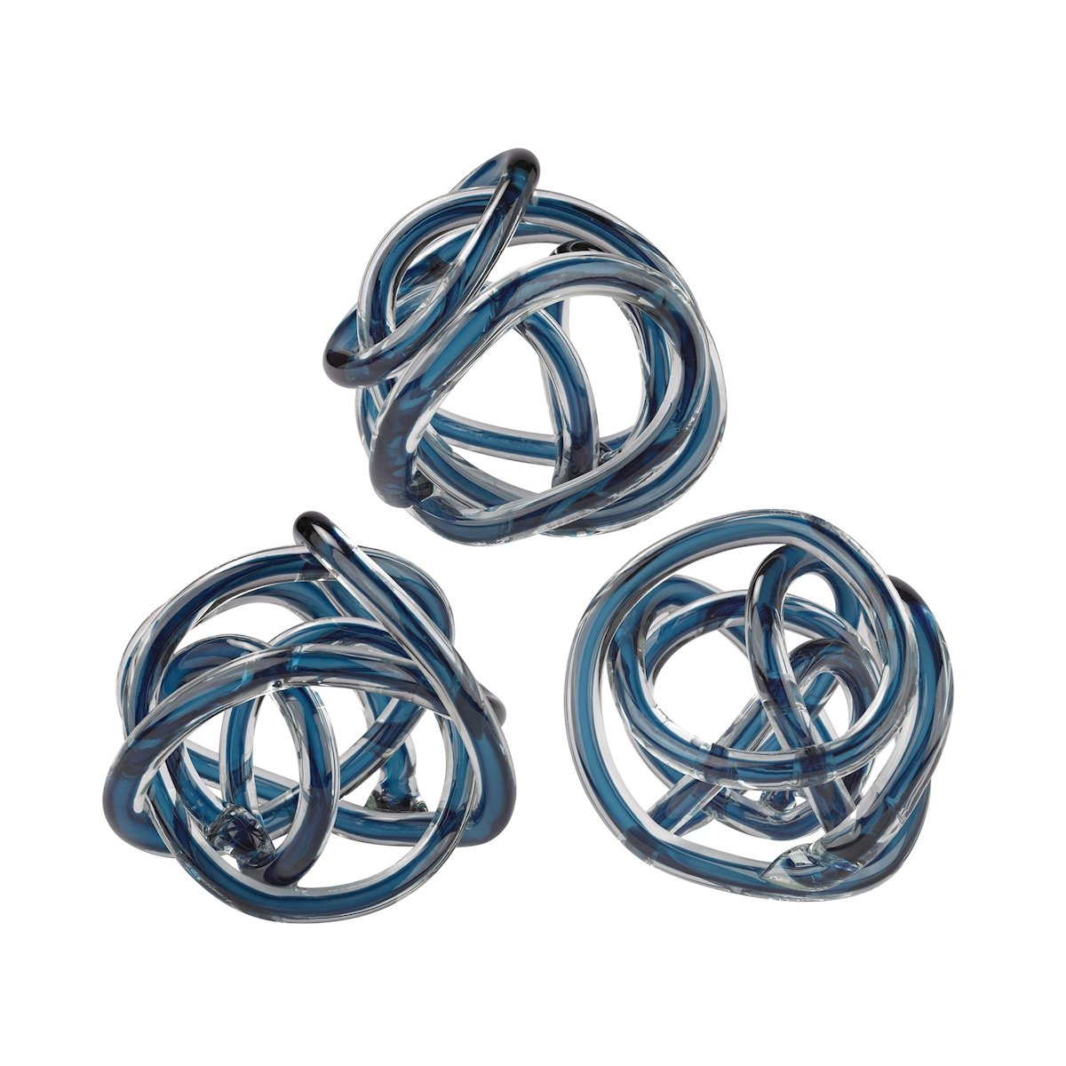 Artistic Set of 3 Glass Knots, Navy Blue by Artistic