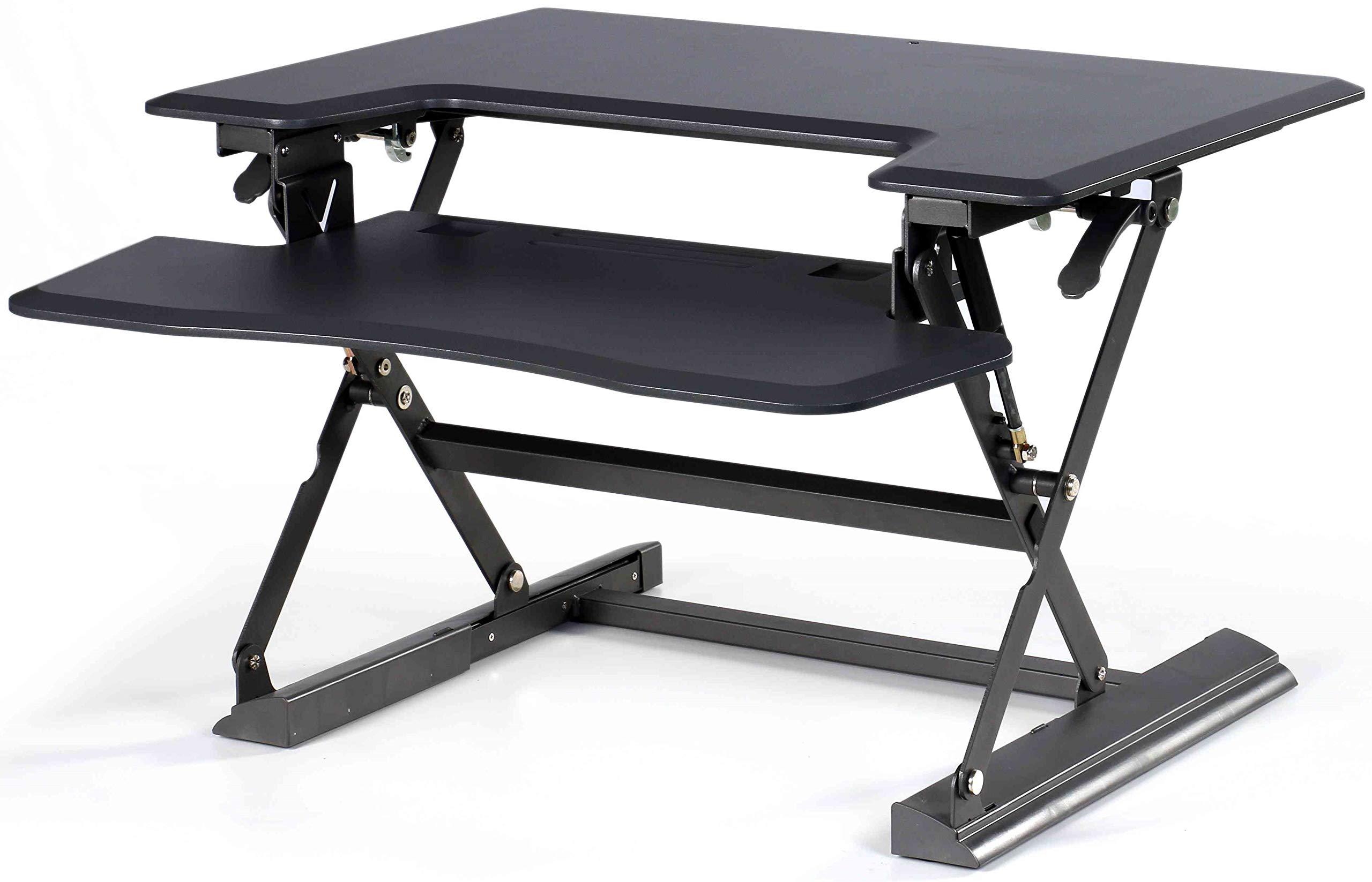 Hercke HDF Black Premium Standing Office Desk - Height Adjustable 36'' Wide Computer Desk with Easy-Action Levers - High Density Fiberboard Black - 66 lb Weight Capacity