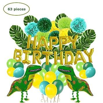 Lehoo Castle Decoración de Fiesta de Dinosaurio, Juego de artículos de Fiesta de 63 Piezas para niños, Decoraciones de cumpleaños para niños, Globos ...