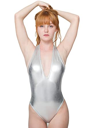 American Apparel Lame Halter Bodysuit - Lamé Silver   M  Amazon.co.uk   Clothing b007c3405