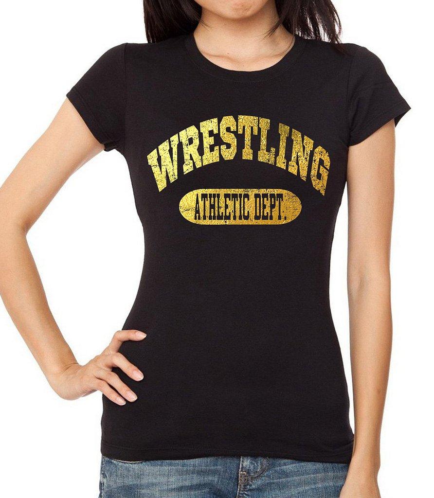 Interstate Apparel Inc Junior's Gold Foil Wrestling Athletic Dept. Black T-Shirt 2X-Large Black