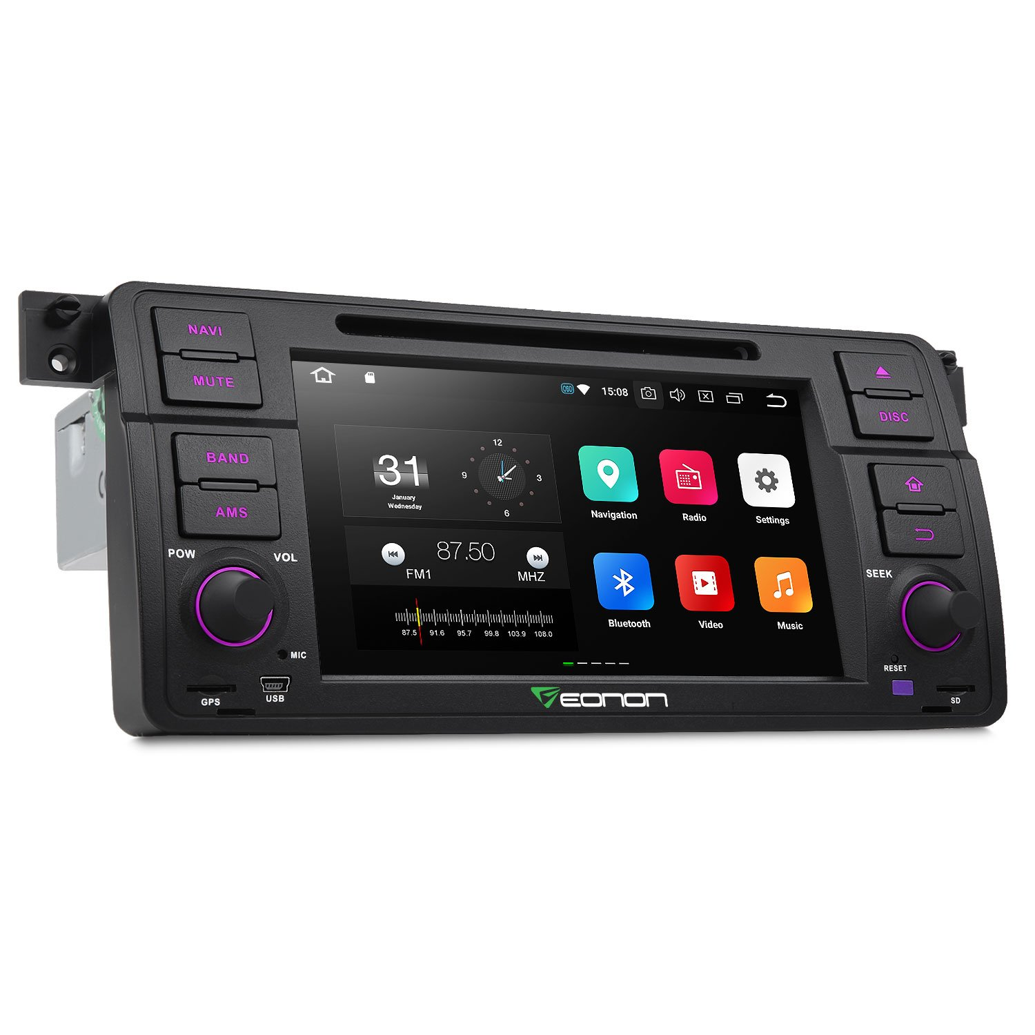 Eonon GA9150A Car Stereo Radio Audio 7 Inch Android 8.0 Oreo, 4GB RAM 32GB ROM Octa-Core Car GPS Navigation for BMW 3 Series 1999,2000,2001,2002,2003 and 2004(E46) with WiFi Bluetooth