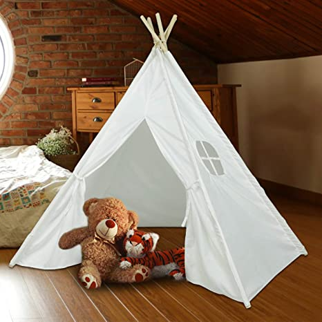 Large Cotton Canvas Kid Teepee Tent Children Indoor Outdoor Play House 2 Tapes