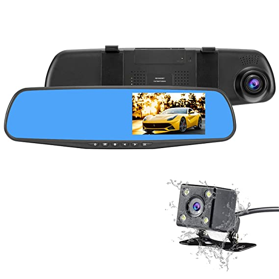 Amazon Com Nexgadget Car Dash Cam 4 3 Lcd Fhd 1080p Dual Lens Car