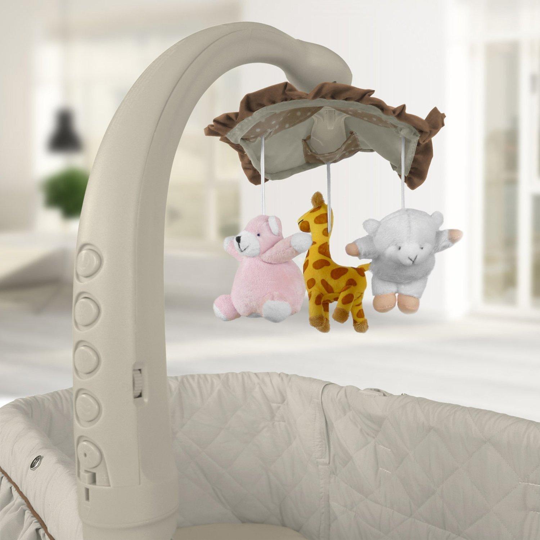 Best For Kids Stubenbett 4 in 1 Schaukelwiege Babybett mit Melodie Nachtlampe und Schaukel mit Fernbedienung in vier Farben zur Auswahl Cherry Vibration Licht