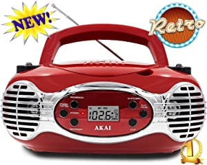 Akai Akai CD/CDR Line in function AUX Portable Boombox CE2200R Retro Style Limited Edition FM PLL Radio with LCD Display - Red