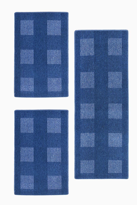 Andiamo, Bettumrandung Dalia, 1x 67 x 200 cm + 2x 67 x 120 cm, blau, strapazierfähig, schadstofffrei