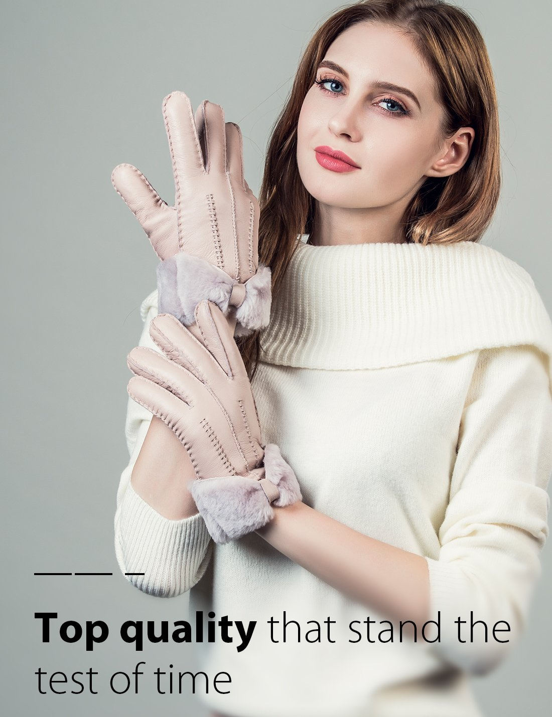 YISEVEN Women's Rugged Sheepskin Shearling Leather Gloves Three Points and Wing Cuffs Soft Thick Furry Fur Lined Warm Lining for Winter Cold Weather Heated Dress Driving Work Xmas Gifts, Pearl Pink S by YISEVEN (Image #4)