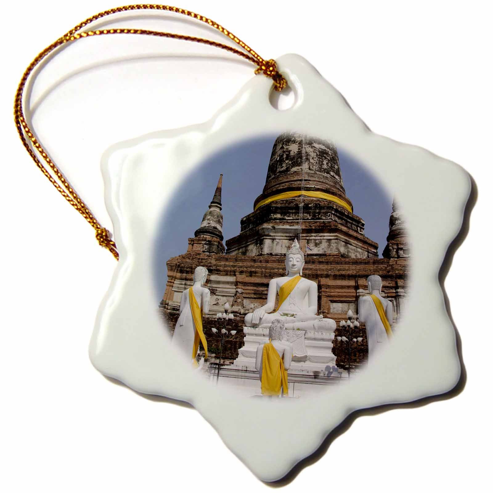 3dRose orn_132991_1 Buddha, Wat Phra Chao Phya-Thai, Thailand As36 Cmi0612 Cindy Miller Hopkins Snowflake Ornament, Porcelain, 3'' by 3dRose