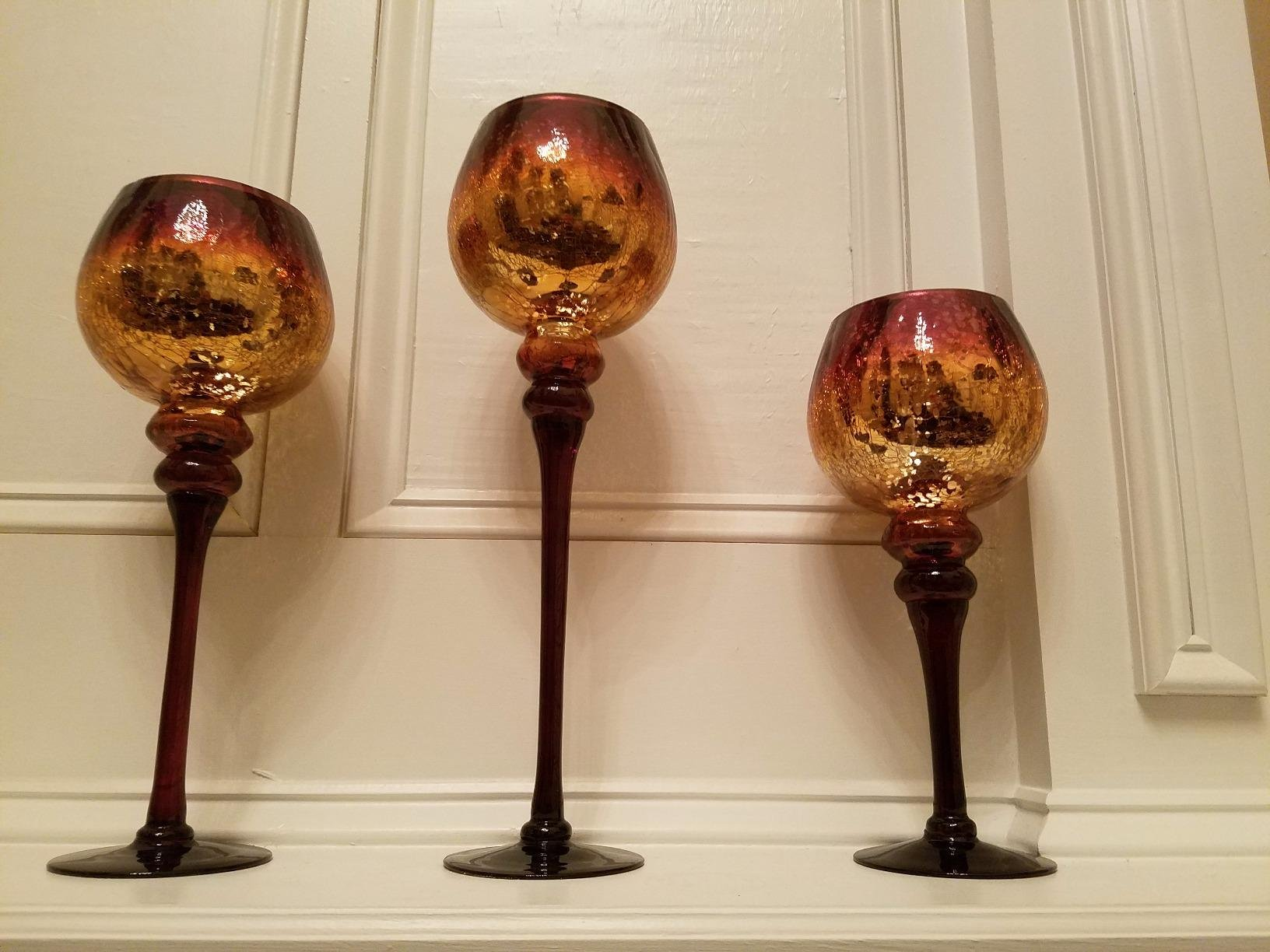 Set of 3 Brown Mercury Chocolate Crackle Finished Glass Hurricane Candle Holders ~ Decorative Sphere Ball Candle Holders ~ Home Decor & Party Centerpiece by Le'raze (Image #6)