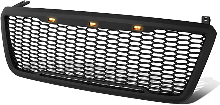 EAG Fit 04-08 Ford F150 Front Hood Mesh Rivet Grill Stud SS Matte Black Shell