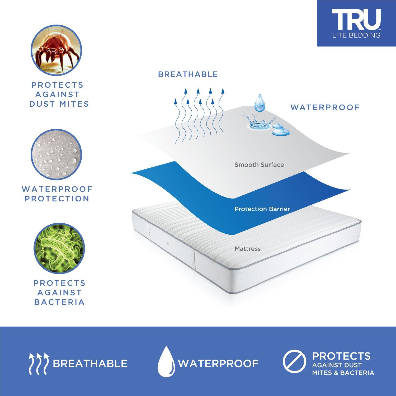 amazon com tru lite bedding waterproof mattress protector