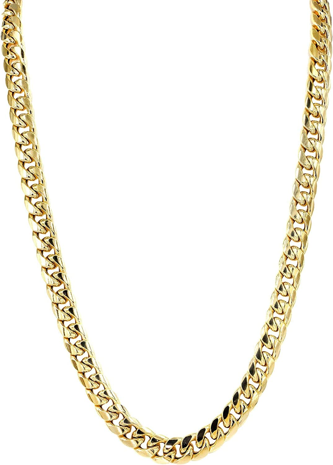 Orostar 10K Yellow Gold 7MM Miami Cuban Curb Link Chain and Bracelet with Box Lock Clasp
