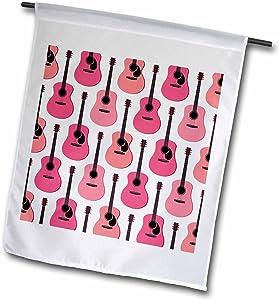 3dRose Janna Salak Designs Music - Pink Acoustic Guitars Pattern - 18 x 27 inch Garden Flag (fl_204726_2)