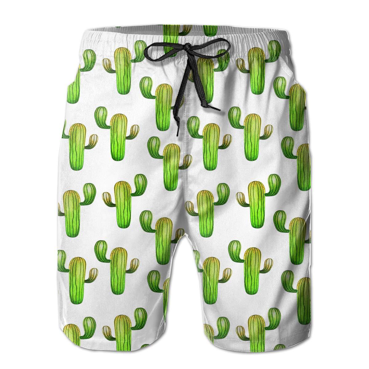 Watercolor Green Cactus Pattern Mens Beach Shorts Casual Classic Beachwear