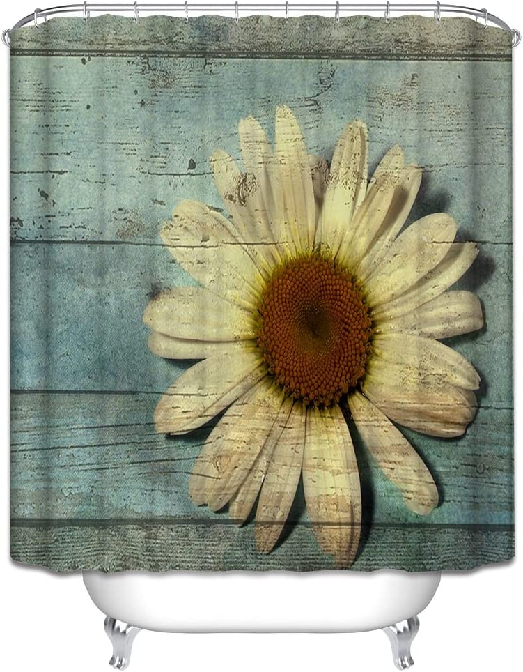 Wood Boards Planks Flowers Fabric Shower Curtain 70x70 Primitive Country Aqua