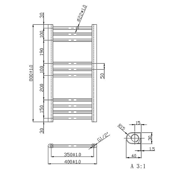 ENKI radiador toallero baño diseño plano cromado doble combustible 800 x 400 mm: Amazon.es: Bricolaje y herramientas