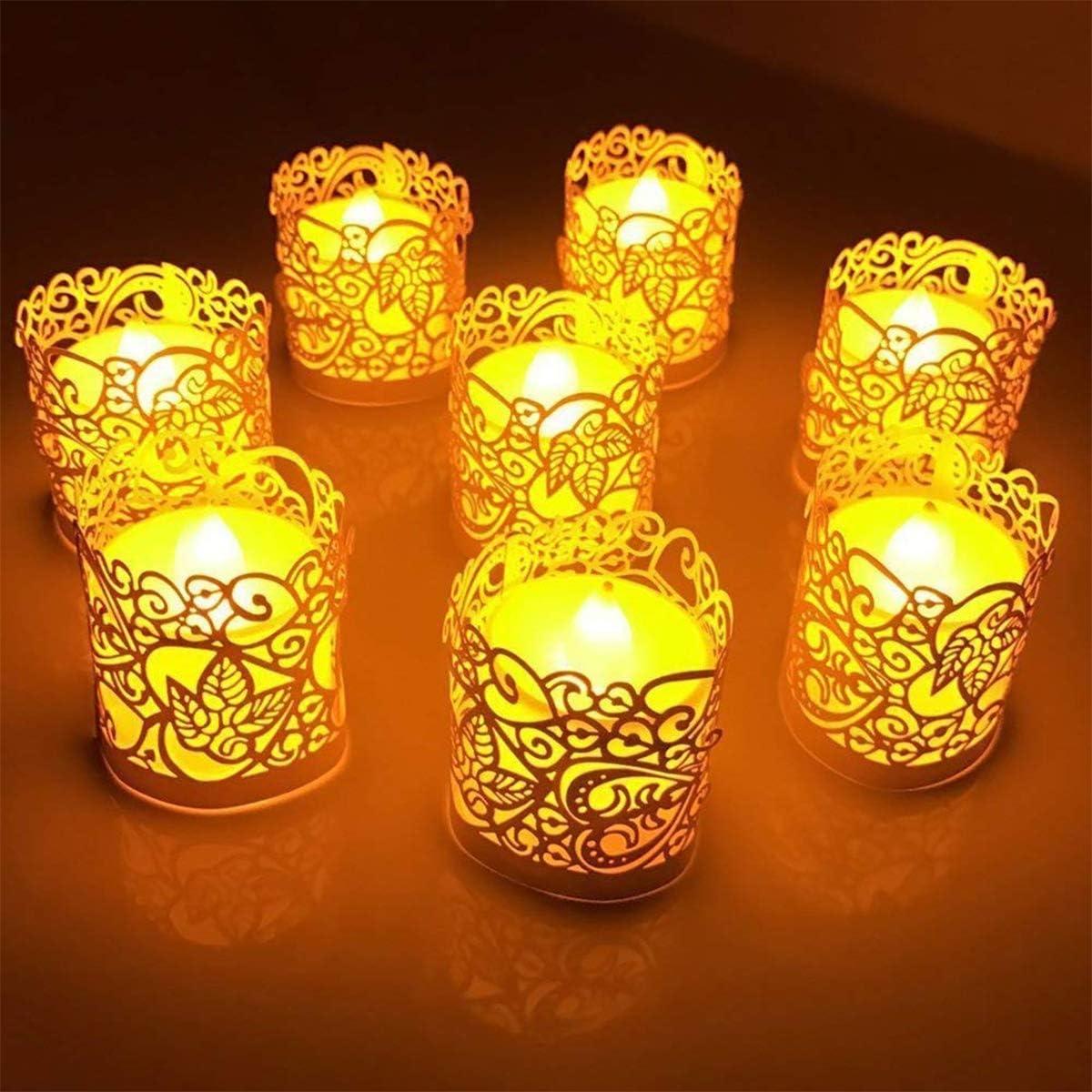 blanc, dor/é Lot de 10 bougies chauffe-plat sans flamme