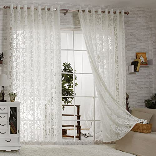 R.LANG Solid Grommet Top Modern Embroidered Sheer Curtain 1 Pair Cream White 66 W X 90 L