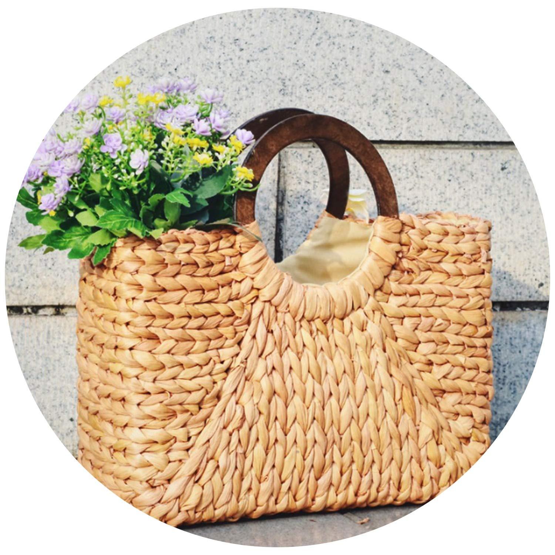 Women Straw Handbag Tote...