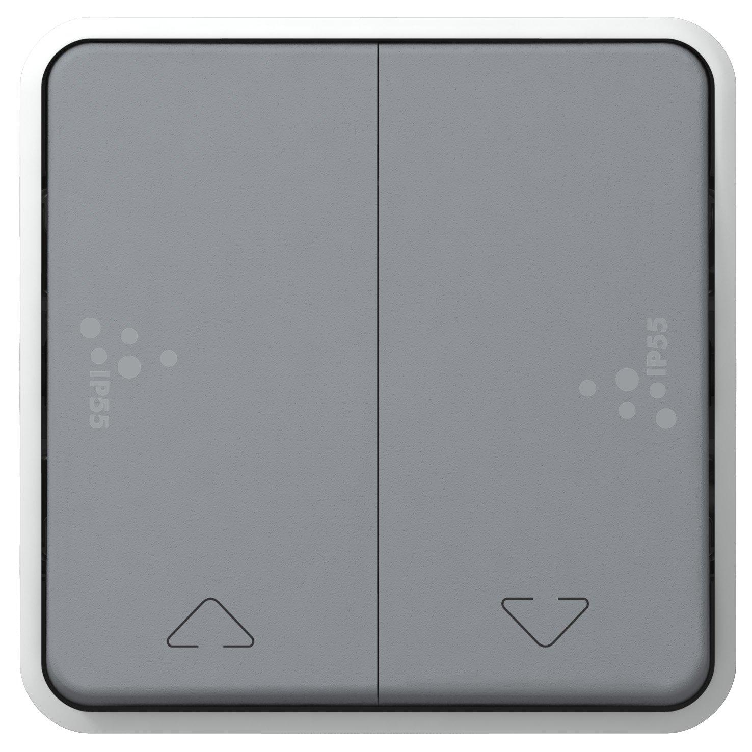 gris legrand plexo 55 bouton poussoir volets roulant composable