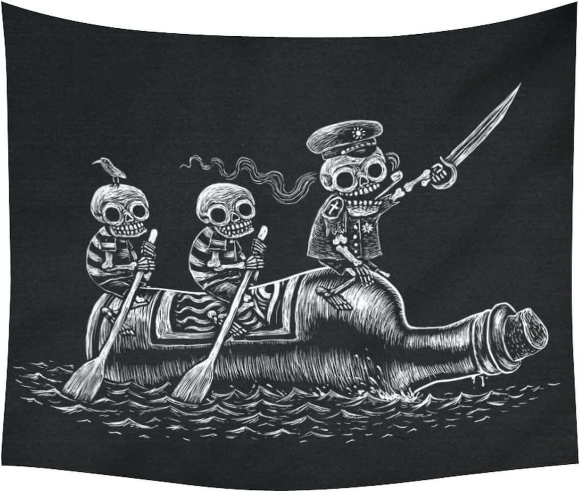 INTERESTPRINT Alcoholic Sea Voyage Home Decor Tapestries Wall Art, Funny Skull Skeletons Sailors Tapestry Wall Hanging Art Sets 60 X 51 Inches