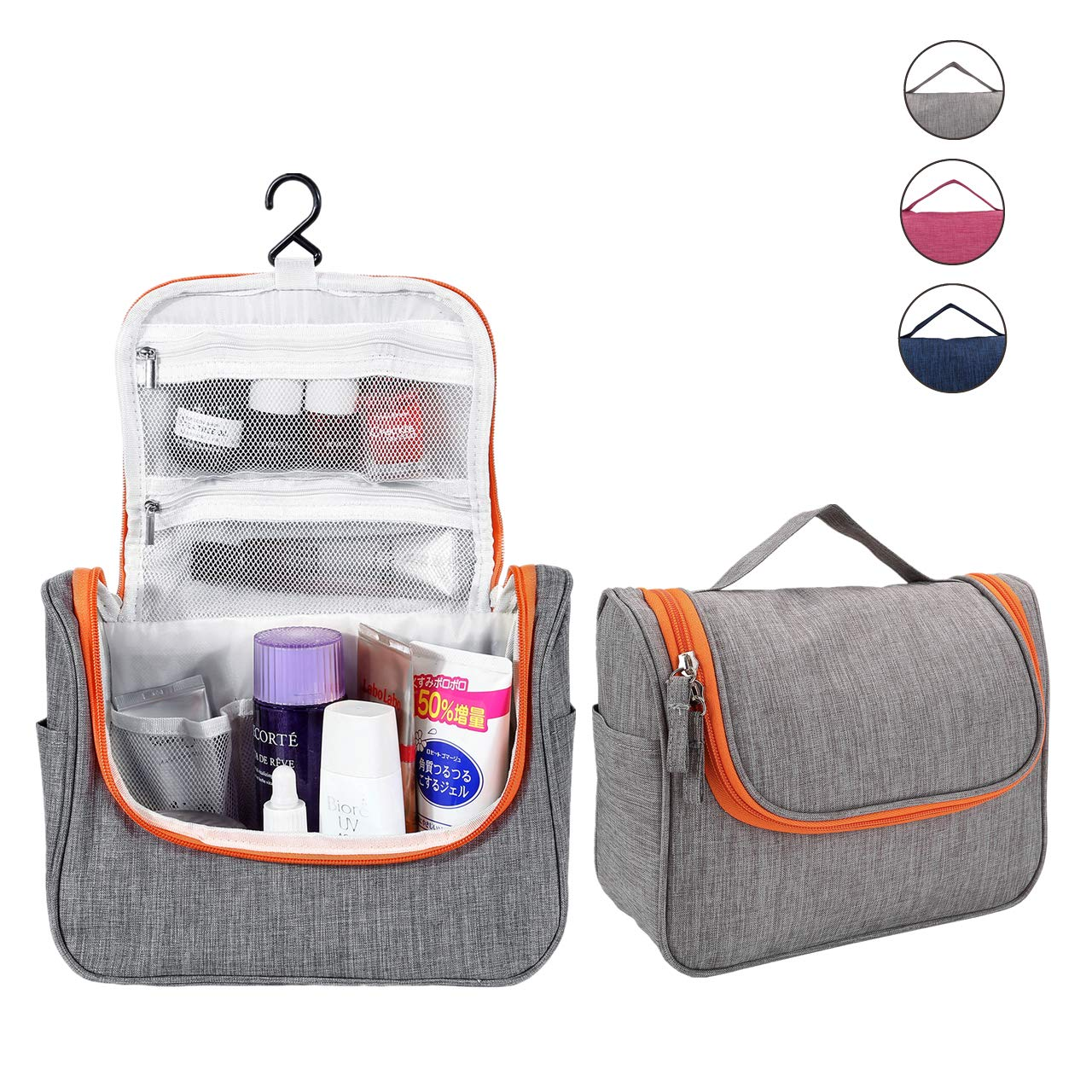 Travel Hanging Toiletry Bag, Mornajina Waterproof Cosmetics Makeup Toiletries Organizer Case for Mens Womens Gray