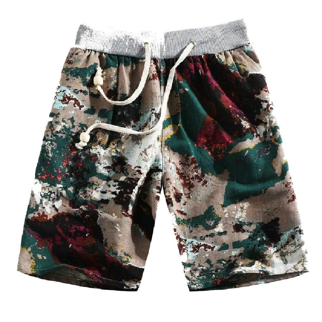 Zimaes-Men Casual Holiday Slim Fit Linen Summer Swim Trunks Board Shorts?