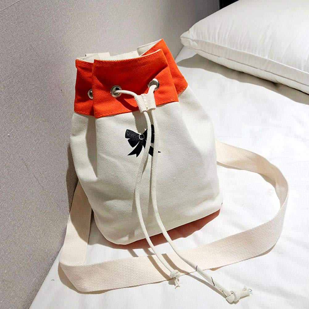 Jocestyle Fashion Shoulder Bag Canvas Drawstring Pouch for Daily Use