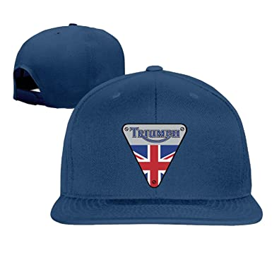 Unisex Triumph Motorcycles Logo flat bill stretch cap Blue One Size ... 37eec6ee796