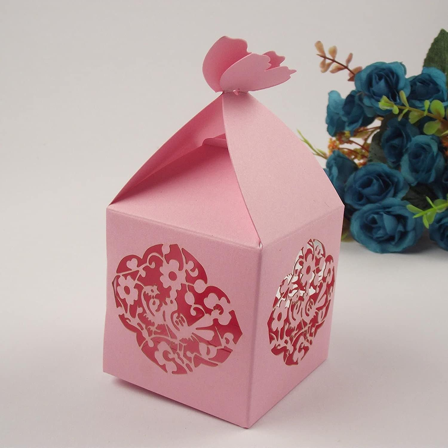 Large Laser Cut Heart Filigree With Butterfly Top Wedding Favour ...