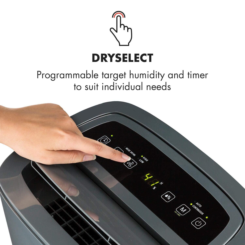 Klarstein DryFy20 Déshumidificateur • Déshumidificateur de pièce • 420 W • 20 L/24h • Pièce de 40-50 m² • DrySelect • Mode silencieux • Seulement 45dB • Gris