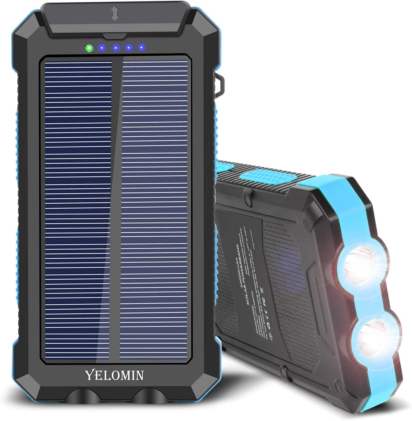 Solar Charger 30000mAh,YELOMIN Portable Outdoor Mobile Power Bank with Type-C Input Port Dual Flashlight High Capacity Camping External Backup Battery Pack for All Cellphones, Tablets and More
