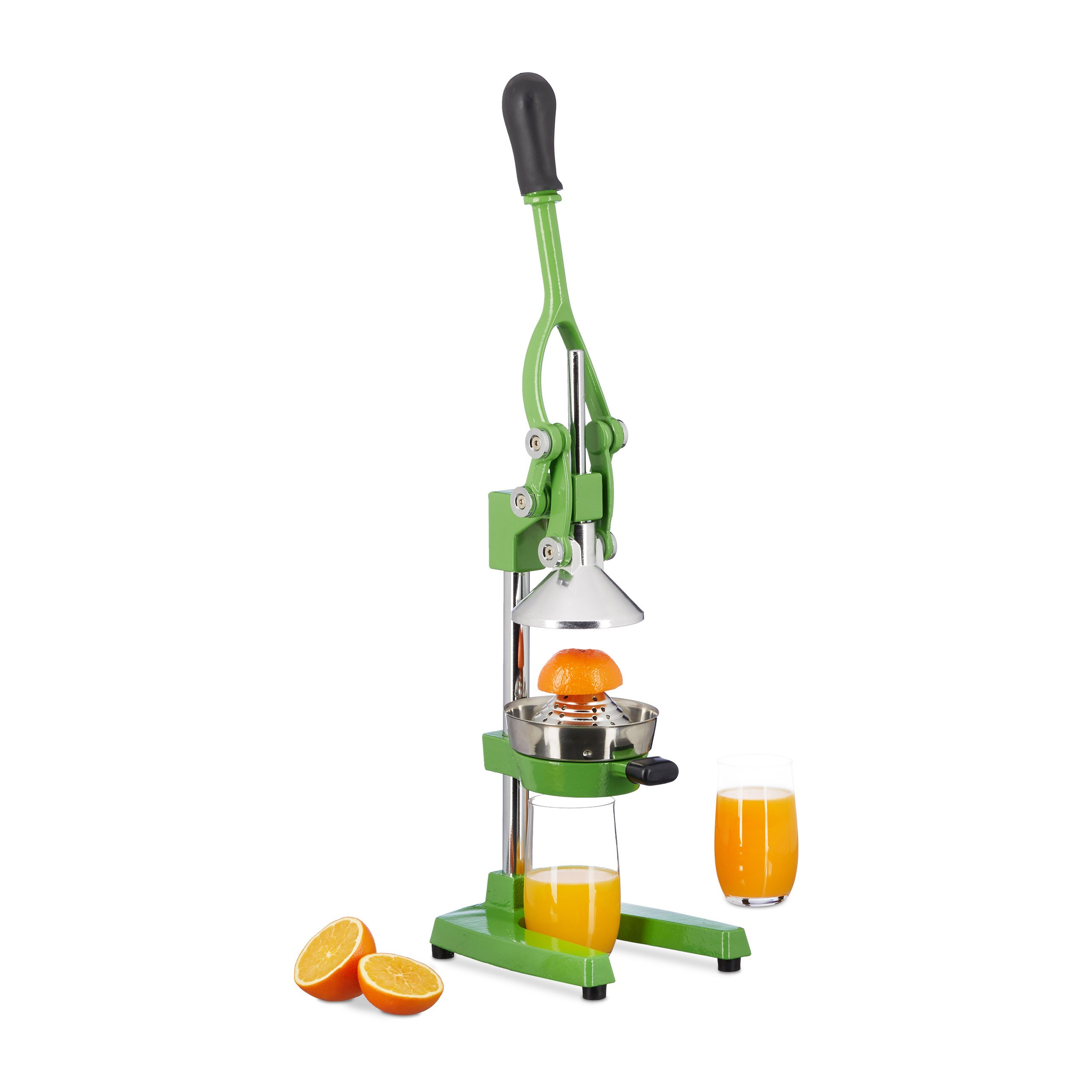 Relaxdays Manual Iron and Stainless Steel Juicer, Citrus Press for Oranges, Professional Lever Zester, Green