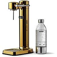 Aarke Carbonator 3 sodamaker met een roestvrijstalen behuizing en premium PET-fles, goudkleurige afwerking.