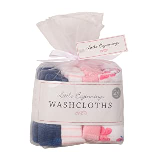 Buttons and Stitches 24 Piece Washcloths, Butterfly Assorted Prints