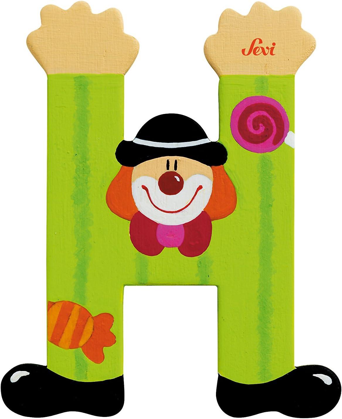 décoration de porte ** Lettre prenom de porte clown en bois H JAUNE