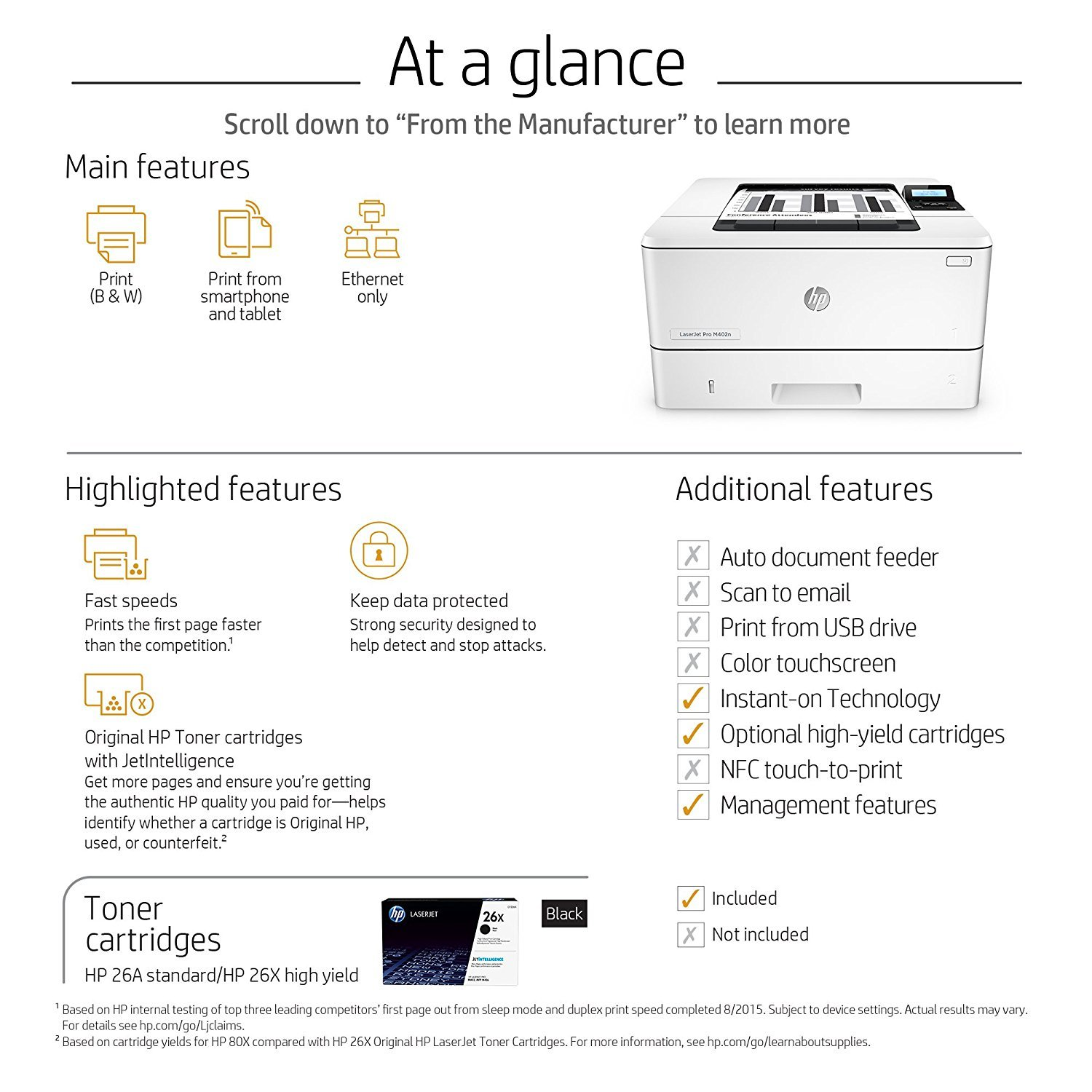 HP LaserJet Pro M402n Laser Printer with Built-in Ethernet, Amazon Dash Replenishment ready (C5F93A) by HP (Image #7)