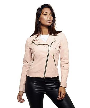 48728ca3c384 D Arienzo - KBC • Couleur Rose • Veste en Cuir Femme Perfecto Cuir Naturel   Amazon.fr  Vêtements et accessoires