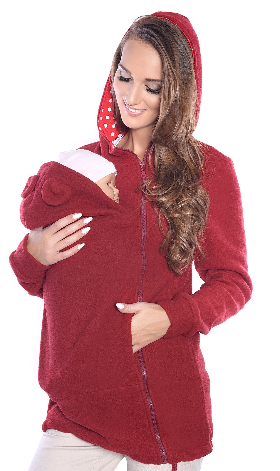Maternity Polar warm Hoodie Pullover / for Baby Carriers 3073A (12, Burgund)