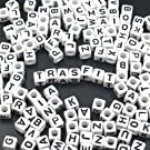 """Trasfit 600 Pieces White Acrylic Alphabet Letter""""A-Z"""" Cube Beads for Jewelry Making, Bracelets, Necklaces, Key Chains and Kids Jewelry (6mm)"""