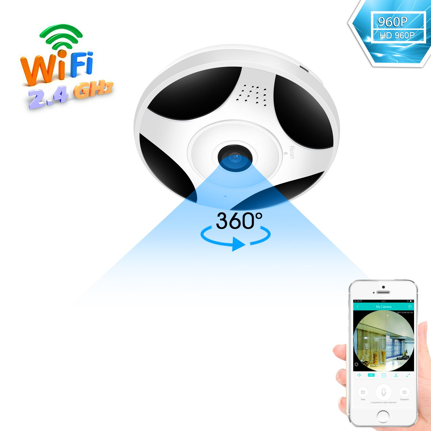 BESDER 360 Degree Panoramic Wifi Camera HD 960P Security Camera Baby Monitor Home Camera Pet Monitor Two Way Audio Video Camera Remote Viewing Night Vision Motion Detection VR Wireless Cameras 2.4GHZ
